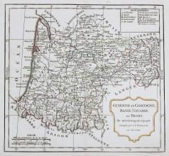 Carte géographique ancienne de la Guyenne et Gascogne