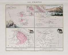 Carte géographique ancienne des colonies françaises