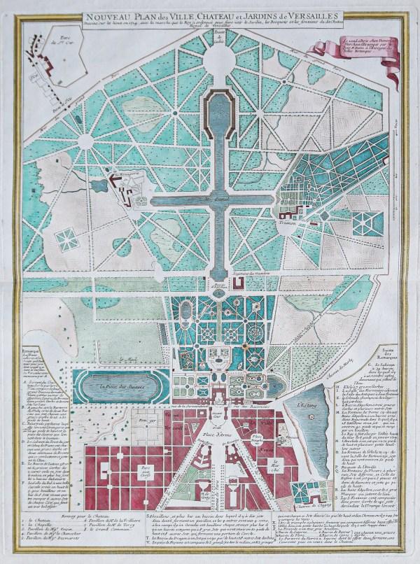 Plan ancien de la ville - Château et jardins de Versailles - Jardins