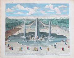 Gravure ancienne - Fontaine d'Apollon - Versailles - Jardins