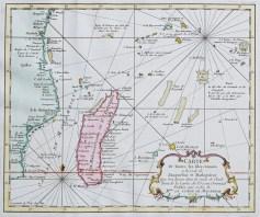 Carte marine ancienne du Mozambique - Madagascar