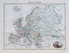 Carte géographique ancienne de l'Europe politique