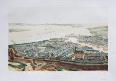 Gravure ancienne - Brest - Voyage Aérien en France