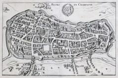 Plan ancien de la ville de Reims en Champagne