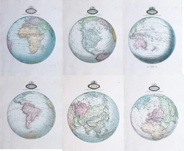 cartes géographique ancienne des continents