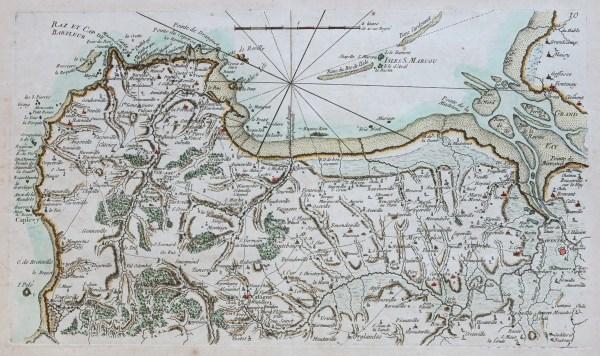 Carte marine ancienne du Cotentin
