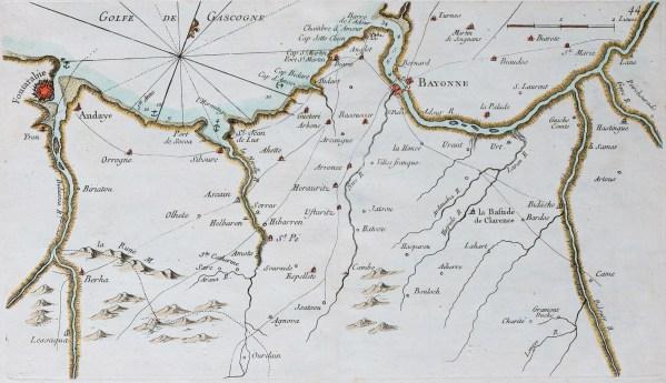 Carte marine ancienne du Golfe de Gascogne
