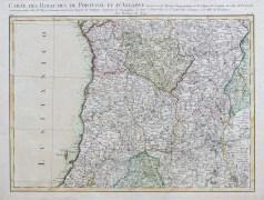 Carte géographique ancienne du Portugal