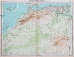 Carte géographique ancienne de l'Afrique du Nord-Ouest
