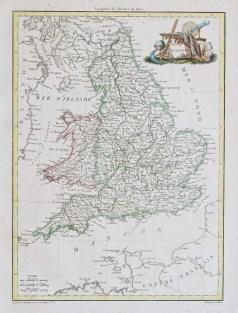 Carte géographique ancienne de l'Angleterre