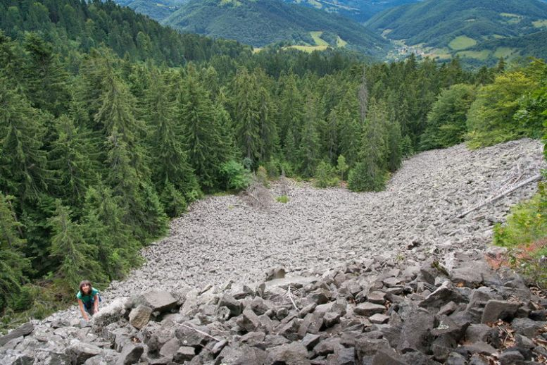 Campul de bolovani pravaliti la baza detunatei Goale- Muntii Apuseni / Metaliferi
