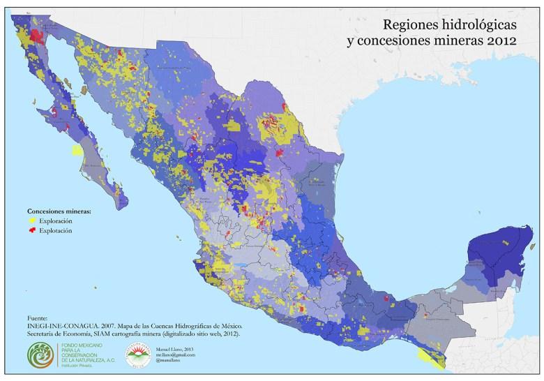 Concesiones mineras y regiones hidrológicas (clic para ver más grande)