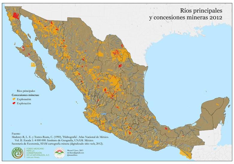 Concesiones mineras y ríos principales (clic para ver más grande)