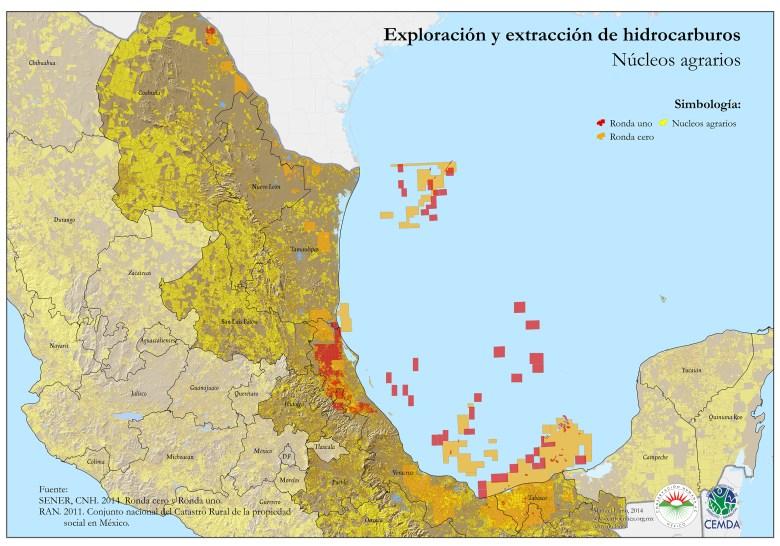 Hidrocarburos y núcleos agrarios (Clic para ver más grande)