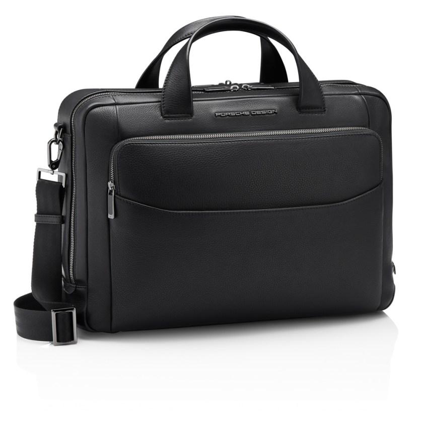 Porsche Design - Ampia valigetta portadocumenti da lavoro classica da uomo realizzata in pelle goffrata. Due scomparti principali con tasca integrata per laptop da 17 pollici. Manici e tracolla.