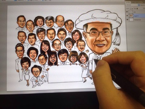 Digital Caricature Portraits by caricaturists from Cartoon.SG