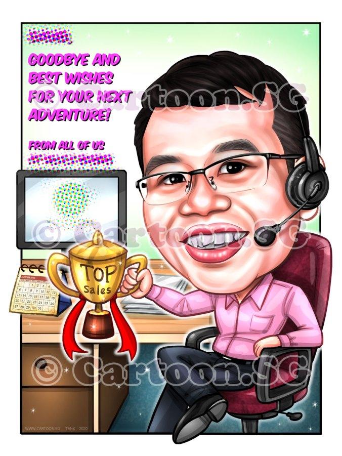 20200122-Caricature-Singapore-digital-farewell-gift-trophy-sales-headphone-office-desk