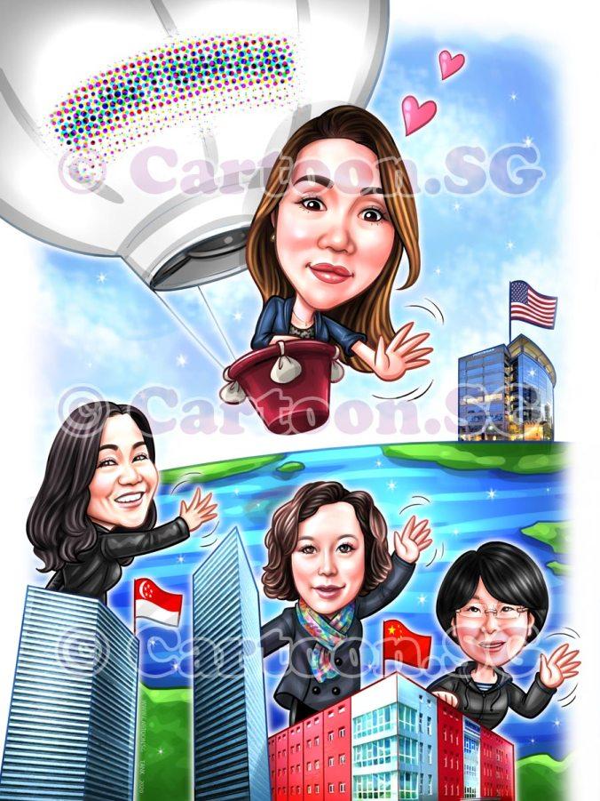 Digitising Caricature Farewell 4 Face Hot Air Balloon
