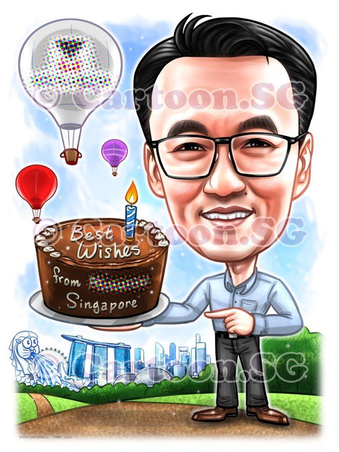 chocolate birthday cake hot air balloon singapore iconic landmark