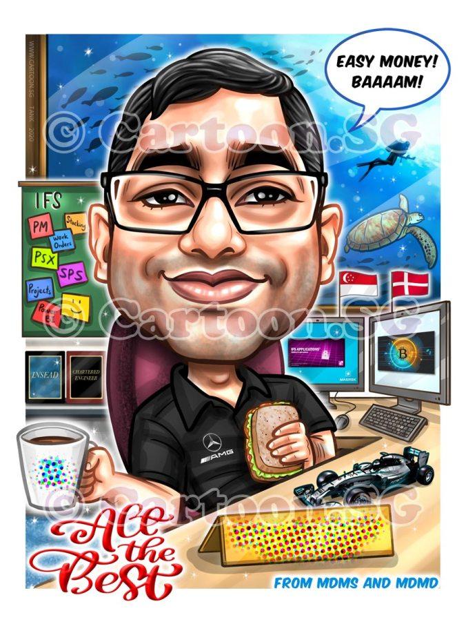Sea Aquarium Boss cartoon caricature sketch