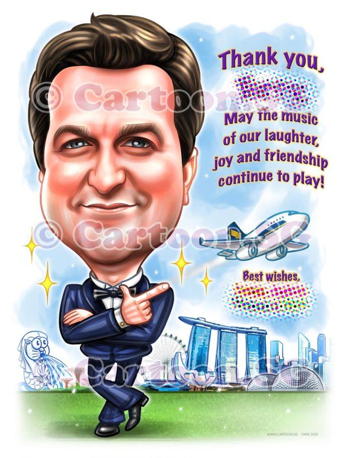 blue suit singapore landmarks aeroplane caricature cartoon