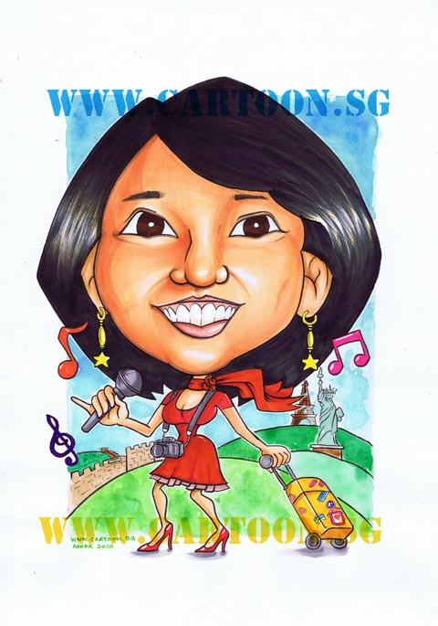 Gift Caricature of a lady who loves to sing and travel