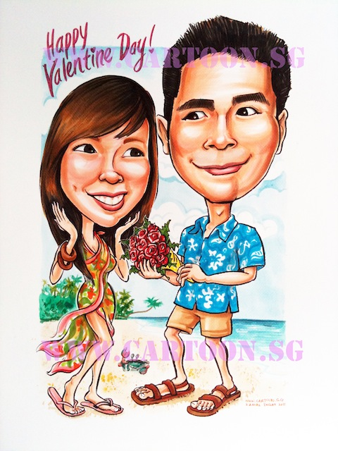 Caricature of couple enjoying valentines day at the beach