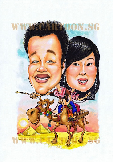 Happy couple caricature sitting on camel riding in the desert