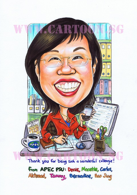 Caricature of lady boss busy at work