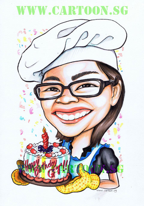 Caricature of birthday girl with birthday cake wearing chef hat. Cartoon drawing gift