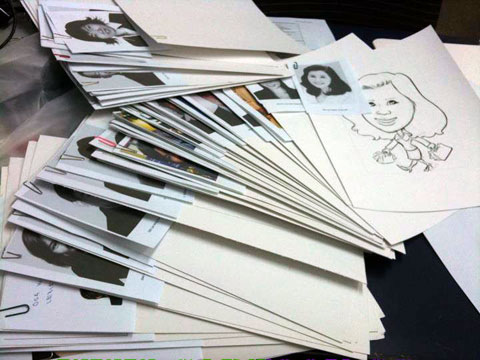 Sketching caricatures work in progress from pencil drawing to markers.