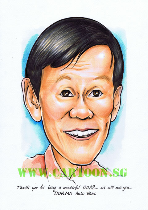 Farewell gift for boss mugshot caricature by singapore artist
