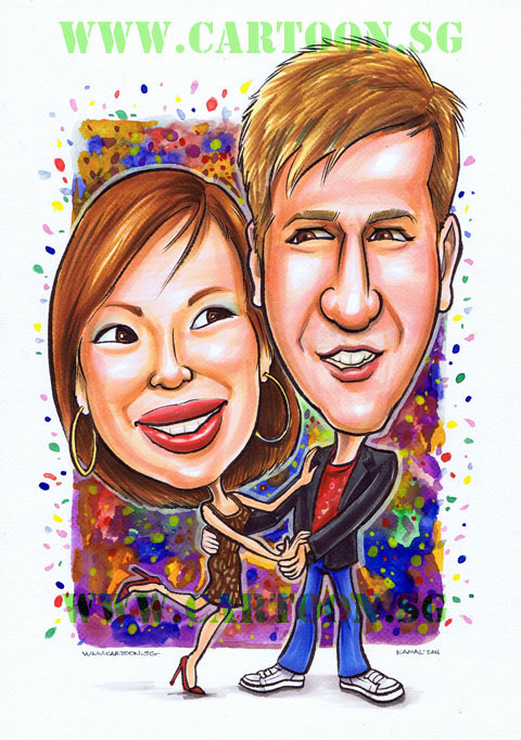 A colourful couple caricature drawing cartoon