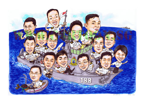 Farewell Gift, Group Caricature