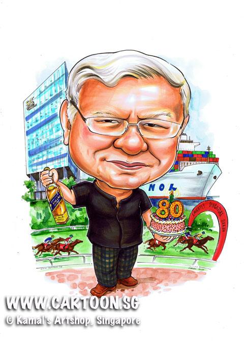 caricature, cartoon, singapore, birthday gift, ship, 80