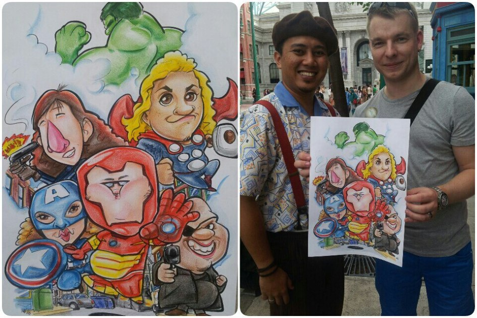 Comic cartoon drawing of the Avengers in Singapore by caricaturist artist.