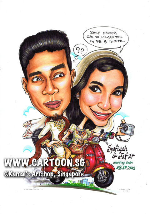 singapore caricature cartoon art drawing fun picture image sketch colour motorbike scooter vespa camera gagra bangels flats wedding facebook twitter smiling smile happy love woman man couple traditional costume buildings city upload speech bubble dialogue question mark scarf attire bride groom photography take picture confused confusion