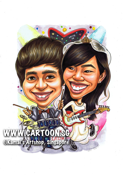 singapore caricature cartoon art drawing fun macho man camera hill houses 50th birthday six pack blue pants jeans canvas shoes black suit cool strong handsome healthy vibrant fit physically active trees villa pebble pavement standing working out shooting pictures photos relaxing watch