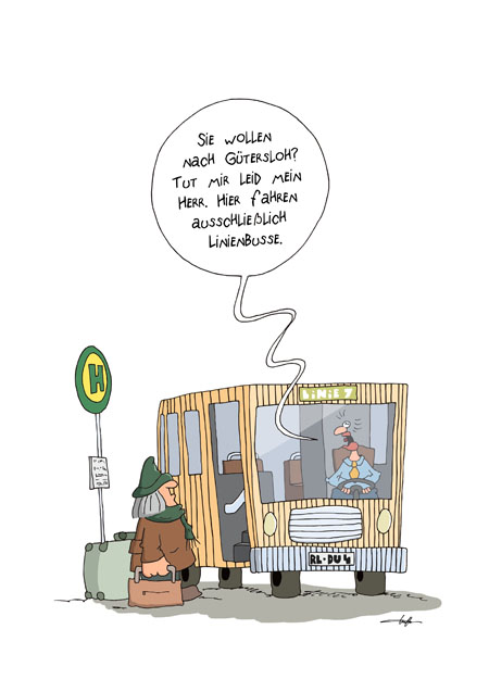 Thomas Luft, Cartoon, Lustig, Linienbus