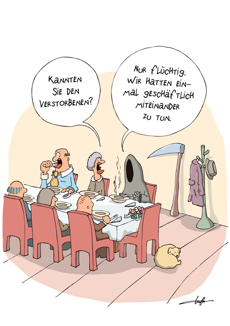 Thomas Luft, Cartoon, Lustig, Leichenschmaus