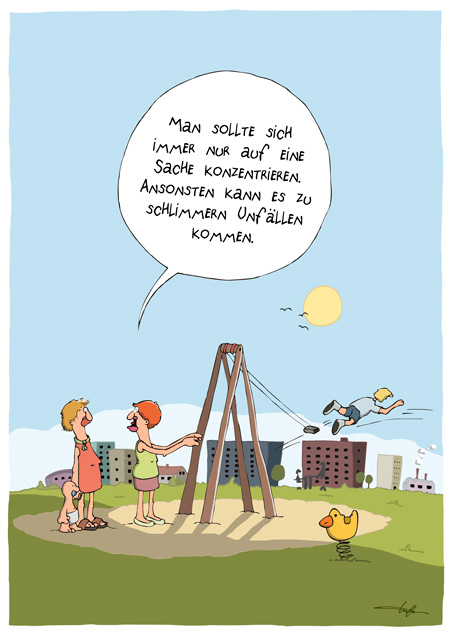 Thomas Luft, Cartoon, Lustig, Schaukel