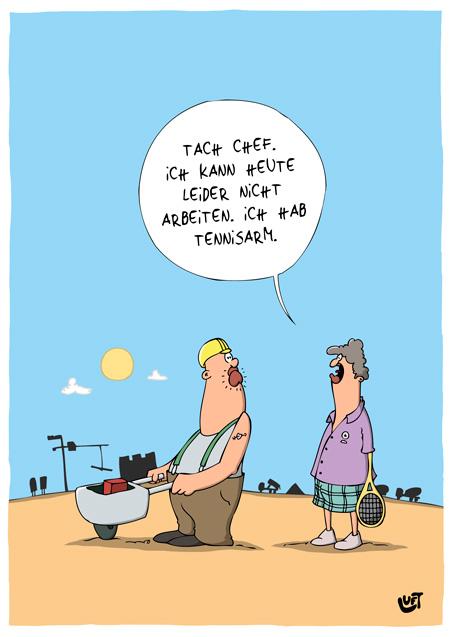 Thomas Luft, Cartoon, Lustig, Tennisarm