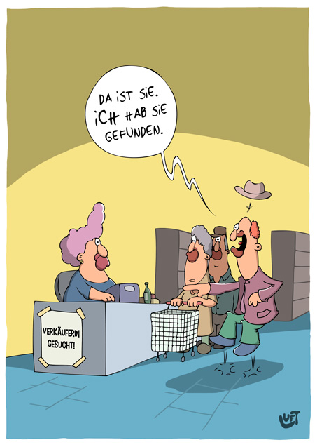 Thomas Luft, Cartoon, Lustig, Verkäuferin