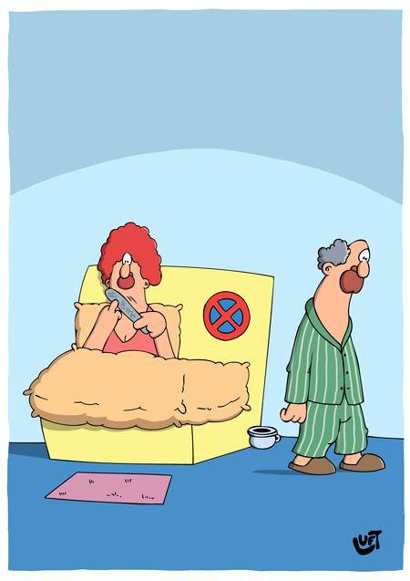 Thomas Luft, Cartoon, Lustig, Bettverbot