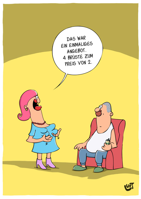 Thomas Luft, Cartoon, Lustig,  Brust-OP