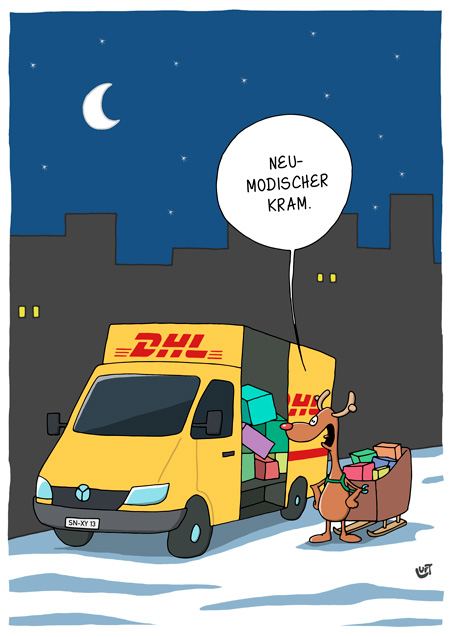 Thomas Luft, Cartoon, Lustig, DHL, Elch