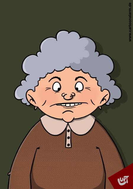 Karikatur einer Oma gezeichnet von Thomas luft