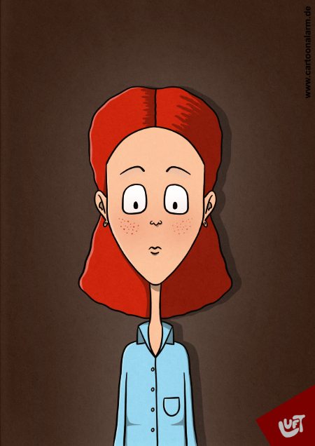 Lustige Karikatur einer Frau mit roten Haaren und Sommersprossen gezeichnet von Thomas Luft.