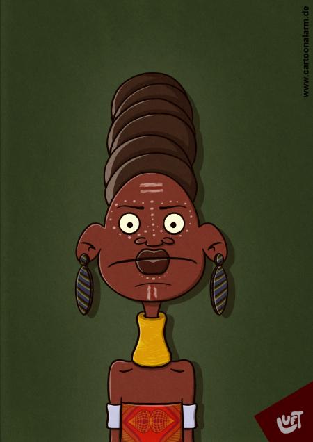 Karikatur einer Afrikanerin gezeichnet von Thomas Luft