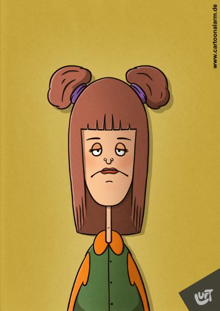 Lustige Karikatur einer Frau mit einer kreativen Frisur gezeichnet von Thomas Luft.